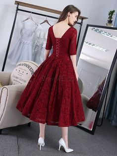Burgundy Short Prom Dresses 2020 Lace Tea-Length Half Sleeves Corset Back Homecoming Dresses Formal Party Dress Robe De Soiree - Afrodita Fashion Hoco Dresses, Tea Length Dresses, Prom Dresses Online, Homecoming Dresses, Evening Dresses, Dresses With Sleeves, Formal Dresses, Half Sleeves, Sexy Dresses