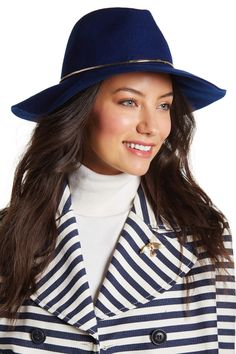 Chain Trim Wool Felt Panama Hat