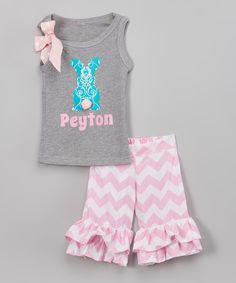 Look at this #zulilyfind! Beary Basics Gray Tank & Pink Chevron Ruffle Short Set - Infant, Toddler & Girls by Beary Basics #zulilyfinds