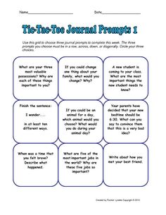Liven up your journal writing program with Tic-Tac-Toe choice grids. This download has 28 different choice grids (252 prompts in all), enough for t...