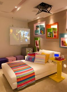 Teen Room Design Ideas Modern And Stylish. If there's one thing a teen bedroom needs, it's space to hang out. Simple shelves divide this room into sleeping and living space while maintaining. Teen Room Designs, Boys Room Design, Home Bedroom, Girls Bedroom, Bedroom Decor, Modern Bedroom, Teen Boy Rooms, Teen Boys, Interior Design