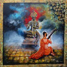 krishna sang meera ,36 X 36 INCH ,Acrylic on canvas ARJUN DAS call -9102807733