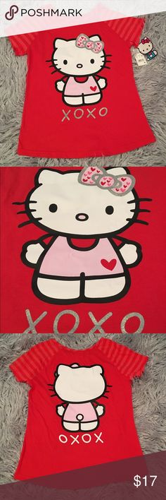 Hello Kitty XO XO Tee Girls XL 14/16 NWT❤️ Hello Kitty XO XO Tee.  Brand new with tags.  Girls size XL 14-16.  Hello Kitty on front & back…see pictures.   No trades. No holds. All offers (lowest ?'s) via make offer button only please (reasonable offers). Thanks for looking and Happy Poshing! 😊 Shirts & Tops Tees - Short Sleeve