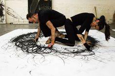Agnieszka Karasch & Ram Samocha - Rotations/Binding/2. Draw to Perform3, International symposium for drawing performance. 30/07/16 @ The Crows Nest Gallery, London. www.drawtoperform.com