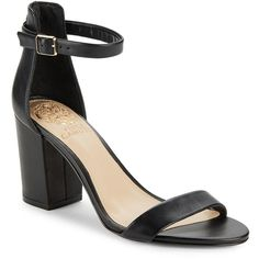 68817dc3cc Vince Camuto Beah Leather Block Heel Sandals ( 70) ❤ liked on Polyvore  featuring shoes