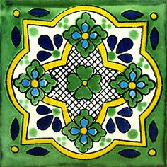 Infuse the spirit of the Southwest into your home with these beautifully handcrafted Talavera tiles! An eye-catching accent in kitchens and baths, decorative ceramic tiles are also perfect for covering the risers on a staircase or the walls of a patio. Ceramic Wall Tiles, Tile Art, Mosaic Tiles, Tile Painting, Mexican Home Decor, Mexican Art, Tuile, Mexican Designs, Tile Patterns