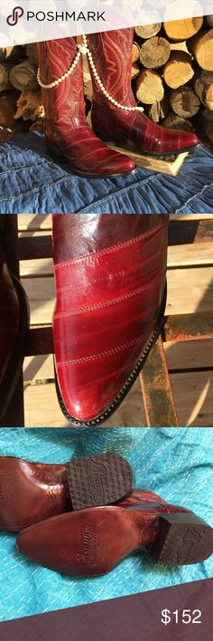 """Cowboy Boots-Eel Skin Arango Cowboy Boots made of exotic electric eel (leather of the sea). Color-WINE (Burgundy). ARANGO COLLECTION – Rodeo Western Boots. Hand made in Mexico. Quality genuine exotic eel skin cowboy boots. Practically new. You will rock these boots in a dress or skirt!  Get ready to two-step and attend Western theme parties or weddings in style! No box. REASONABLE offers will be considered. NO trades.   Approx.: Circumference *Upper shaft-14"""" *Lower shaft-12"""" *Heel height-1…"""