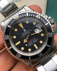 """This doesn't get enough wrist time. The best immaculate condition Rolex Submariner Ref. 1680 Red Sub, perfect patina , box set with double punch papers,…"""