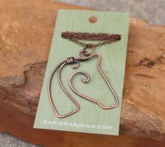 Horse Necklace. Wire Horse. Copper. by Karismabykarajewelry, $32.00