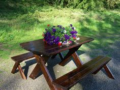 Picnic Table with Detached Benches by SouthStorm on Etsy, $350.00