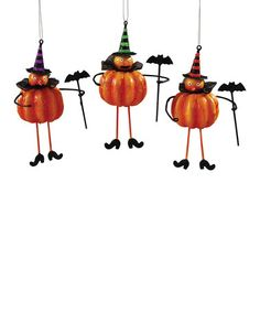 Another great find on #zulily! Pumpkin Party Ornament Set #zulilyfinds
