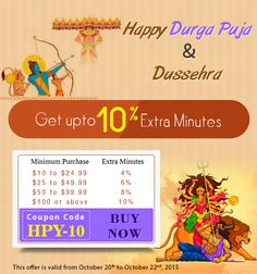 "Amantel wishing you all #Happy #Durga #Puja and #Happy #Dussehra with upto 10% extra #minutes for #international #calling. Just use this coupon code - ""HPY-10"" and give the #wishes of #Durga #puja and #Dussehra to your #family and #friends. Hurry up, offer valid for limited periods. Click here - http://amantel.com/offers/durgapuja-dussehra-2015.html"
