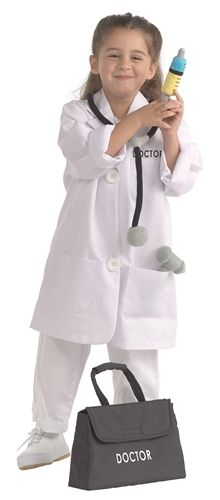 Dramatic Dress Ups® Community Helper Costumes, Doctor/Dentist/Vet. We carry a variety of role play outfits that make wonderful Halloween costumes your kids can wear all year long! Role Play Outfits, White Lab Coat, Medical Bag, Dress Up Costumes, Costume Ideas, Nursing Clothes, Dramatic Play, Discount Shopping, Cool Things To Buy