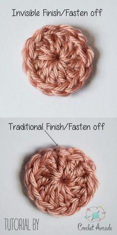 Crochet Diy Invisible Finish (fasten off) Tutorial Crochet Diy, Beau Crochet, Crochet Simple, Crochet Amigurumi, Tunisian Crochet, Crochet Basics, Crochet For Beginners, Crochet Crafts, Crochet Projects