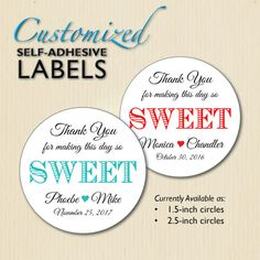 "Custom Script ""Thank You"" Wedding Favor Label, So Sweet Sticker, Candy Buffet; Box, Mason Jar Label; Red, Engagement Party, Rehearsal Dinner"