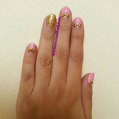 August Nail Art Challenge by Californails Day 1: Classy. My idea of a Classy Nail art is either a Frensh Mani or A Half Moon. So for today I went for a Pink and Gold Studd Half Moon Nails