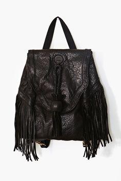 Fringe Leather Backpack