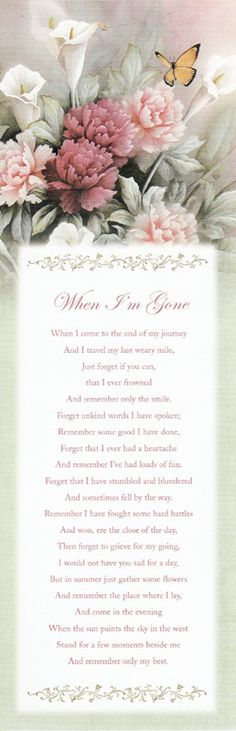 Laminated 3x9 obituary bookmark with Safely Home poem on the front ...