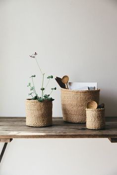 Beautiful natural sisal woven fair trade baskets, handwoven by women's co-operatives