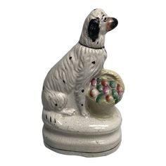 Staffordshire Dog, Antique Collectors, Flower Basket, Porcelain Ceramics, English, Antiques, Dogs, Art, Products