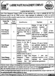 Lahore Waste Management Company Senior Manager Jobs 2021
