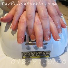 Pink and White Gelish Hard Gel Extensions
