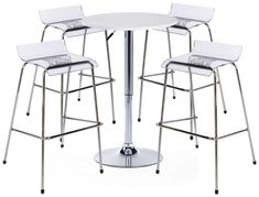 Pub Table Set with 1 Round Cocktail Table, 4 Acrylic Stools - White Bar Stool Table Set, Patio Bar Set, Pub Table Sets, Table And Chair Sets, White Bar Table, Clear Chairs, Black Dining Room Chairs, Dining Rooms, Kitchen Dining