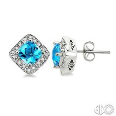 6x6MM Cushion Cut Blue Topaz and 1/5 Ctw Single Cut Diamond Earrings in 14K White Gold