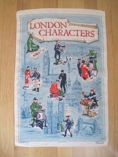 Vintage Tea Towel London Characters