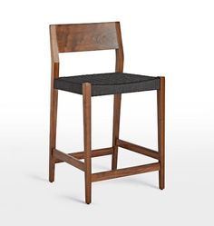 Bayley Counter Stool Walnut with Woven Charcoal Rope Seat D8006   rejuvination