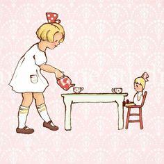 Children's Wall Art Print - Addie's Tea Party - 8x10 - Girl Kids Nursery Room Decor