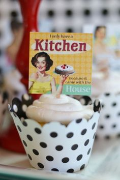 Love the DARLING CUPCAKE TOPPERS in this 1950's Housewife themed Bridal Shower with SUCH CUTE IDEAS via Kara's Party Ideas KarasPartyIdeas.com #housewifebridalshower #1950sparty #br...