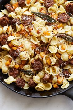 spicy sausage and squash with nutty, sage-spiked butter and Parmesan. inspired by the cavatelli with sausage and brown sage butter at Frankies 457 Spuntino Sage Sausage, Spicy Sausage, Sausage Pasta, Pasta Recipes, Cooking Recipes, Cooking Pasta, Baby Cooking, Cooking Beets, What's Cooking