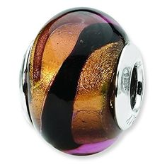 Sterling Silver Reflections Copper Black Italian Murano Bead Charm -- See this great product.