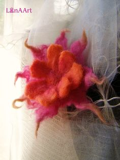 Red-orange-pink flower brooch from felted fine merino by LanAArt