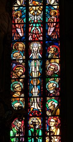 Detail from Stained Glass Window, Behind Altar of St. Francis Xavier Church, Amsterdam, The Netherlands  -  via:  spongeblogspringerpants on Tumblr