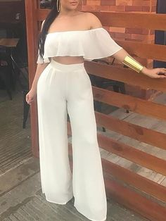 Solid Ruffled Crop Top Wide Leg Pants Set New Arrival Bikinis, Jumpsuits, Dresses, Tops, High Heels on Sale. Dinner Outfit Classy, Dinner Outfits, Classy Outfits, Chic Outfits, Trendy Outfits, Summer Outfits, Girl Outfits, Trend Fashion, Curvy Fashion