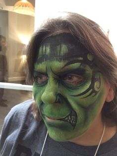 Face paint Halloween make up of a Hulk meets Mike Tyson by Athena Zhe