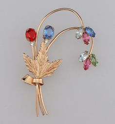 Coro Sterling Craft Rose Gold Over Silver Flower Brooch