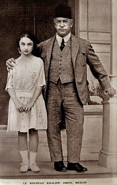 The last Ottoman caliph Abdülmecit II, and his daughter Dürrüşehvar, Istanbul, ca. 1923.