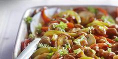 Boodschappen - Bruine bonen met paprika en paddenstoelen