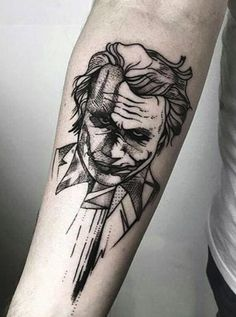 An astounding gallery of various joker tattoo designs that would make you want to have one inked. Here we discuss the history and different designs of joker tattoos. We also discuss the meaning of each design. Batman Tattoo, Joker Tattoos, Comic Tattoo, Clown Tattoo, Hip Tattoo Designs, Sketch Tattoo Design, Tattoo Sketches, Tattoo Drawings, Sketch Style Tattoos