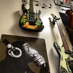 Hmm I wonder what our monkey friend thinks of our Ibanez Steve Vai guitar? Steve Vai, Guitar Store, Guitars For Sale, Ibanez, Monkey, Music Instruments, Jumpsuit, Musical Instruments, Monkeys