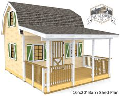 The Barn style shed plan.  Comes in several different sizes to choose from.  Download the plan today!