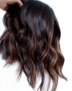 Dark Fall Hair Colors, Fall Hair Color For Brunettes, Hair Color For Black Hair, Brown Hair Colors, Dark Hair, Black Hair With Highlights, Lowlights For Black Hair, Chocolate Brown Highlights, Dark Chocolate Hair