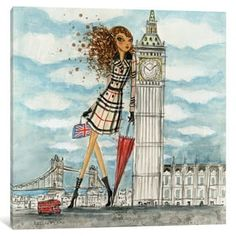 iCanvas 'See The Sights: London' by Bella Pilar Canvas Print | Overstock.com Shopping - The Best Deals on Gallery Wrapped Canvas