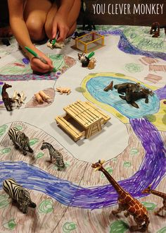Design and make your own zoo playmat! The latest post in our series - using simple resources found at home, re-create these easy play invitations for your children to make and play Preschool Zoo Theme, Preschool Art, Zoo Crafts, Animal Crafts, Zoo Map, Zoo Project, Zoo Activities, The Zoo, Imaginative Play