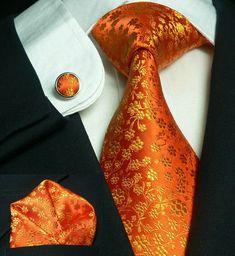 Orange Floral Necktie Set JPM661 – Toramon Necktie Company