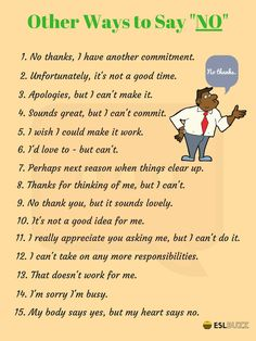 """100 Different Ways to Say """"NO"""" - ESL Buzz"""