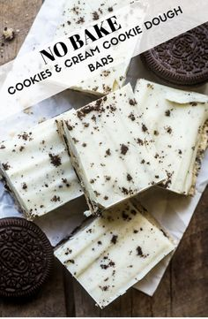 no-bake cookies and cream cookie dough bars are a cookie dough lovers dream!